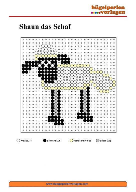 Shaun das Schaf Bügelperlen Vorlage