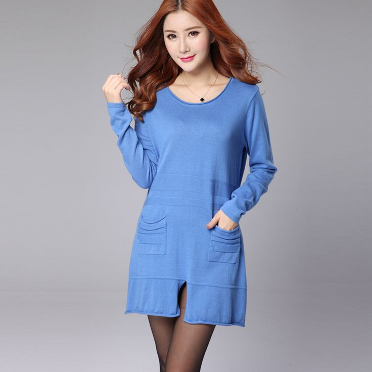 2017 Autumn Winter Spring Sweater Women Long Pullover Female Camel Blue Pockets Sweaters Dress Casual Loose Knitted Clothing