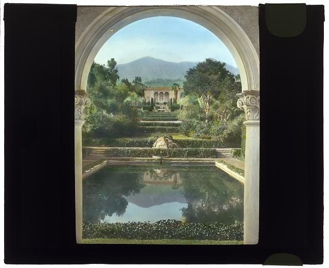 """""""Las Tejas,"""" Oakleigh Thorne house, 170 Picacho Road, Montecito, California. View from swimming pool pavilion to house. Photographed by Frances Benjamin Johnston. A large collection of beautiful old landscape photos now available to see at the Library of Congress"""