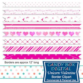 What's in the Candy Box: New Unicorn Valentine Digital Borders and Washi Tape