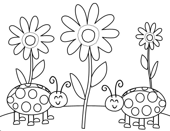ladybugs flowers printabel coloring pages