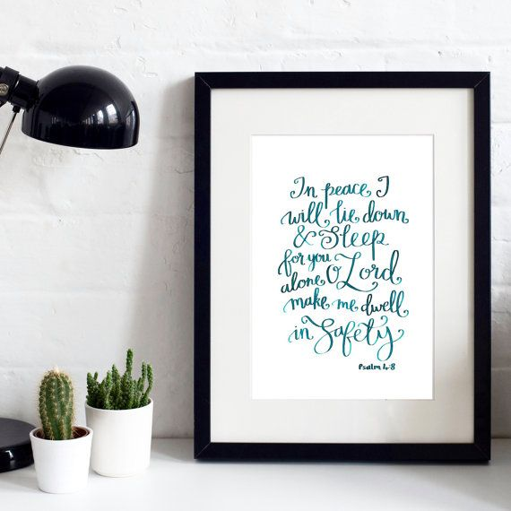 In Peace A4 Original Print - Hand-lettered - Christian Print - Christian Gifts - Gift for Friend - New Home Gift