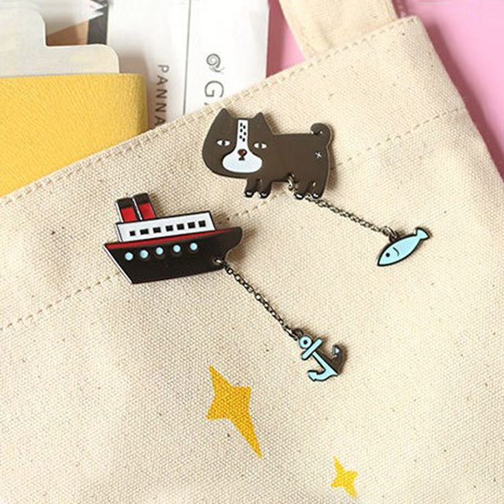 0.92$  Watch now - LNRRABC Sale 1 X Women Cat Fish Brooch Ship Anchor Collar Pins Badge Corsage Cartoon Jewelry Gifts   #bestbuy