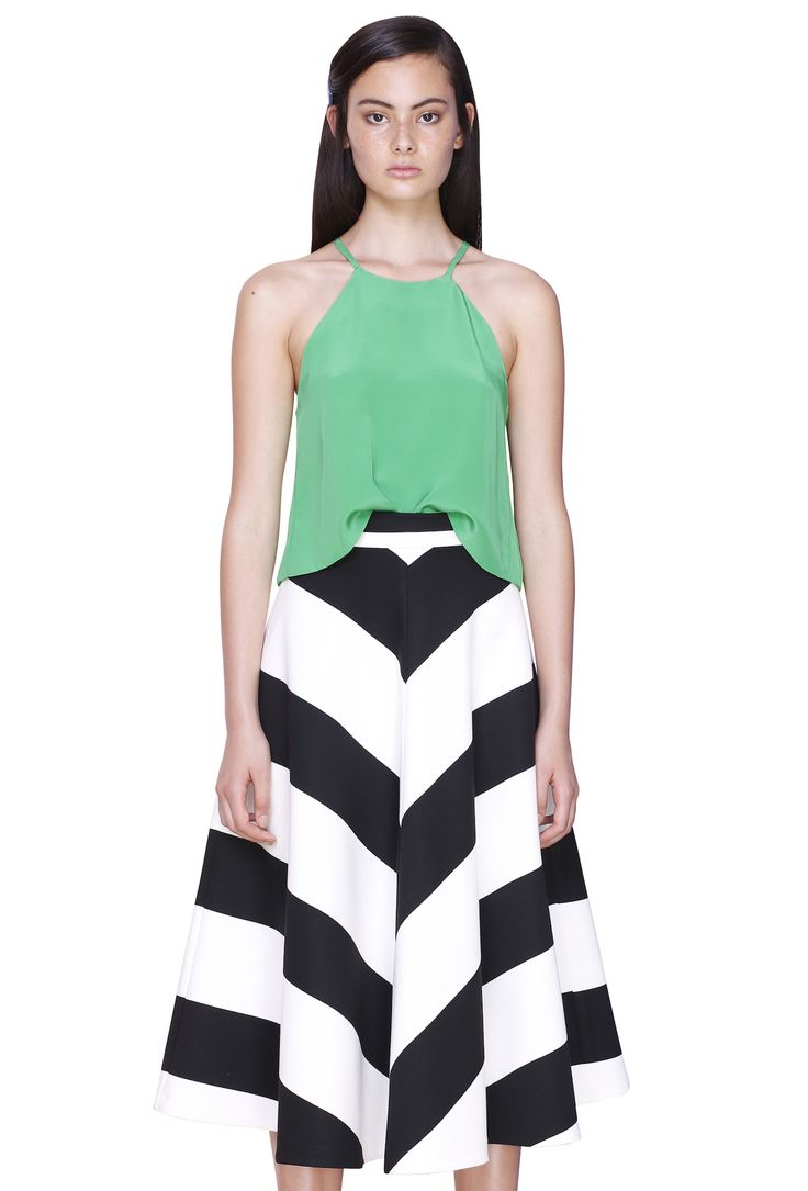SILK A-FRONT TANK & WIDE LINE STRIPE SKIRT #byjohnny #abstrACTION #SPRING2015 #AUSTRALIANFASHION
