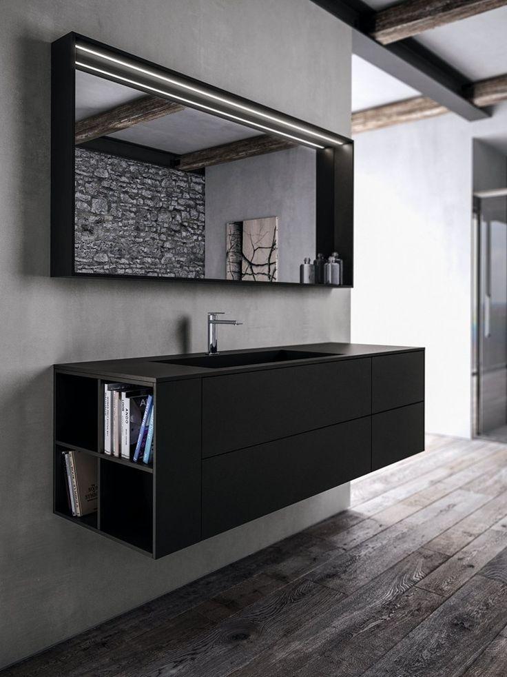 Single suspended Fenix-NTM® #bathroom cabinet SENSE 04 by IdeaGroup | #design Aqua @ideagroupbagno