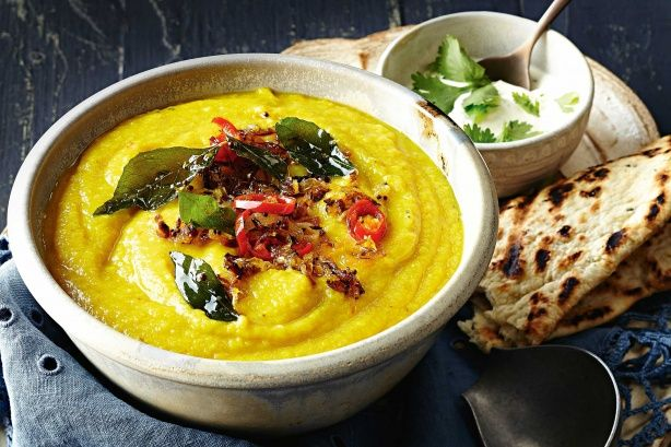 This warming vegie soup is perfect for feeding the hungry hoards. #cauliflower #dhal #vegetarian