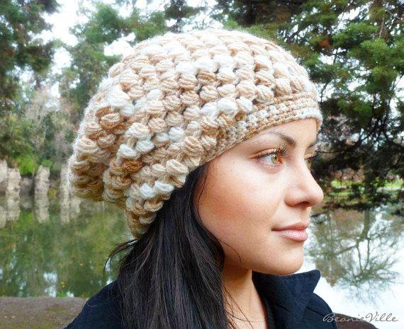 Slouchy beanie hat  CREAM / BEIGE  chunky  crochet  by BeanieVille, $24.95