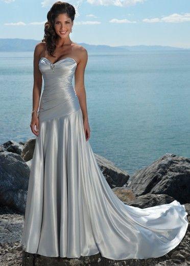 A-line Satin Sweetheart Silver Wedding Dress Style JD1328  $107.99
