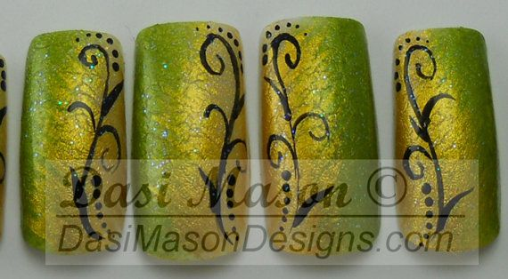 Golden Moss Instant Acrylic Nail Set by dasimason on Etsy, $10.00