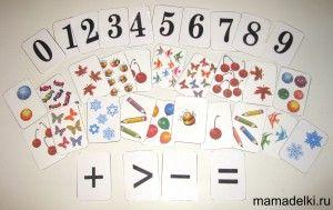 карточки цифры и картинки для счета
