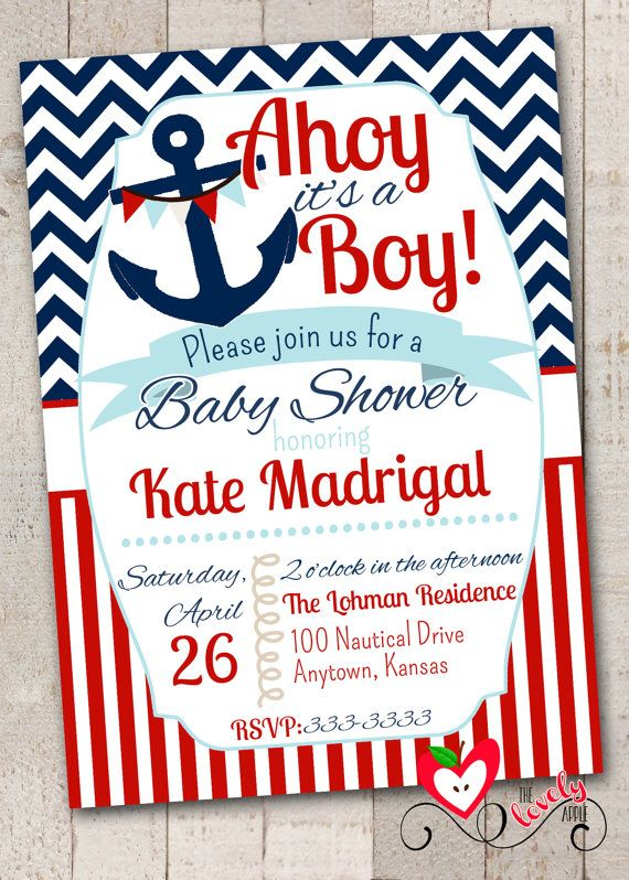 nautical baby shower invitation with free diaper by thelovelyapple