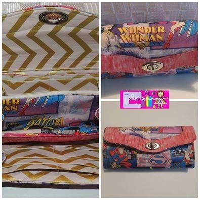 Made By Lisa's Creations The Necessary Clutch Purse using Wonder Woman fabric and Michael Miller Glitz