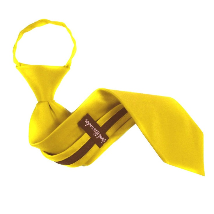 Yellow Boys Solid Zipper Necktie