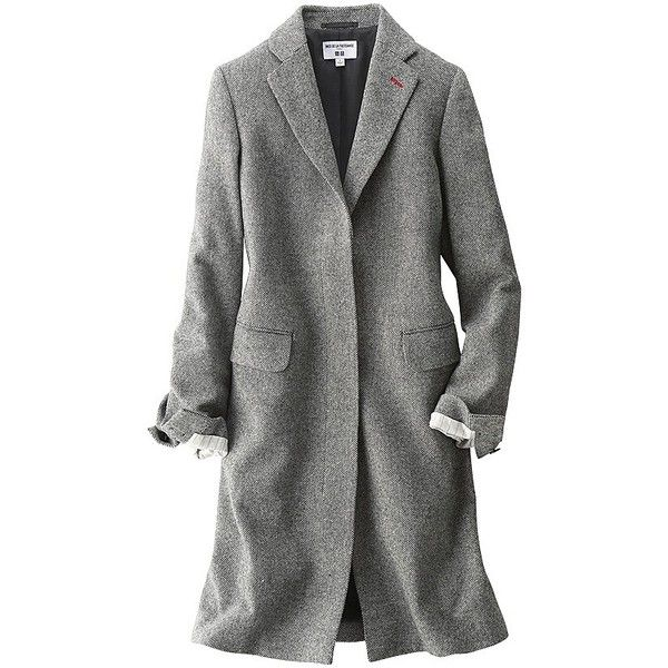 UNIQLO Ines Wool Blended Chester Coat ($56) ❤ liked on Polyvore featuring outerwear, coats, fur-lined coats, uniqlo, uniqlo coats, wool blend coat and red coat