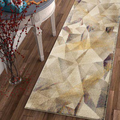 "George Oliver Camren Modern Geometric Prisma Triangle Beige Area Rug Rug Size: 3'3"" x 4'7"""