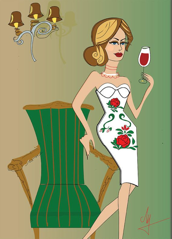 Rose Fashion Illustration Gobelin art Hungarian by Pearlosophy