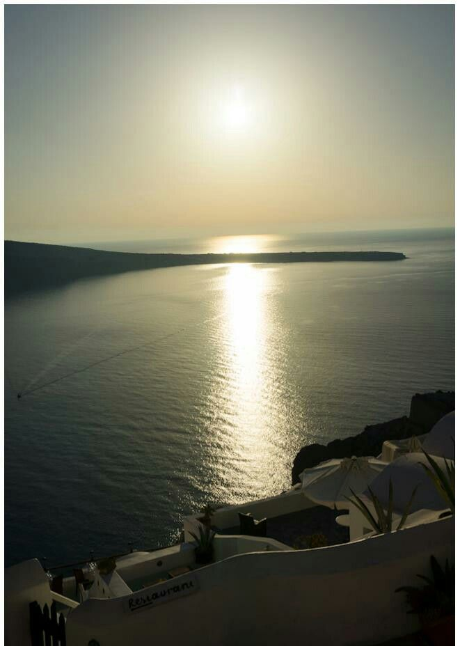 Sunset at Oia, Santorini Greece