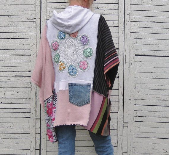 Upcycled Hoodie Poncho Upcycled Clothing Women One by AnikaDesigns