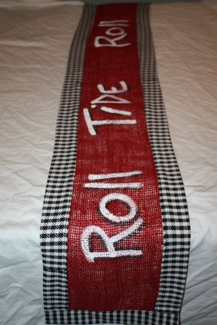 Alabama Burlap and Houndstooth Table Runner  by TwizzleStitches, $30.00
