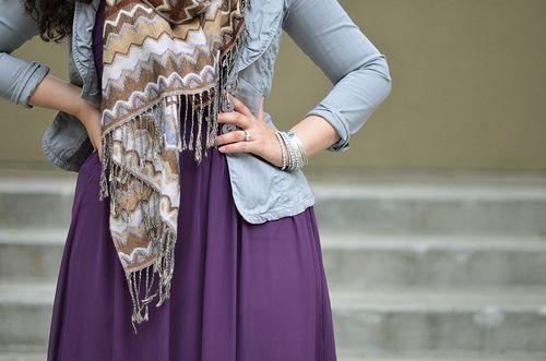 Dusty Powder Blue Jacket | ZigZag Scarf | Purple Maxi Dress