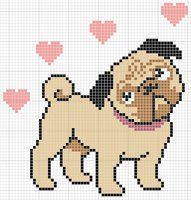Image result for pug cross stitch pattern