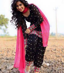 Buy Black Pure Cotton Embroidered semi_stitched salwar with dupatta wedding-salwar-kameez online