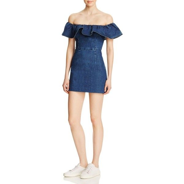 Kendall and Kylie Ruffle Off-The-Shoulder Dress (235 AUD) ❤ liked on Polyvore featuring dresses, denim, flutter-sleeve dress, denim dress, off shoulder dress, mini dress and short denim dress
