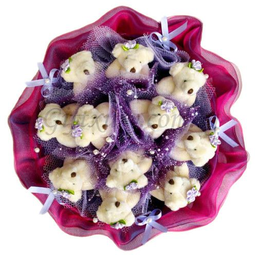 11 Teddy Bears Violet Bouquet http://www.giftxury.com.sg/product/11-teddy-bears-violet-bouquet/