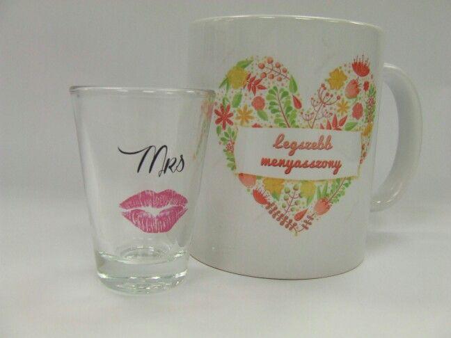 Legszebb menyasszony bögre és Mrs felespohár