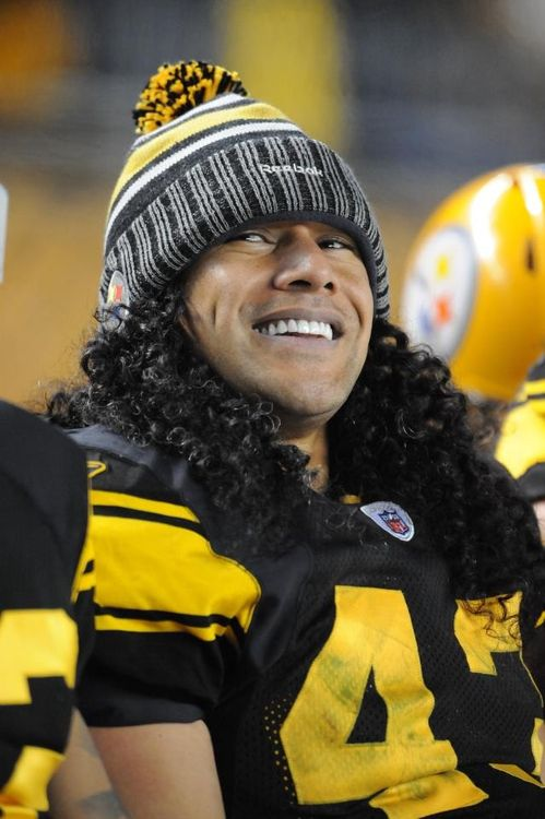 Troy Polamalu - Pittsburgh Steelers. I HAVE THIS HAT. ME AND TROY CAN BE TWINS :)