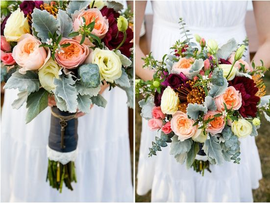 A vintage meets rustic look in a spring wedding floral color palette. Wood tones are used as a backdrop with soft pastels in shades of pink, peach, and buttercream yellow to play up the vintage look. Deep colors in plum, purple, orange, and slate blue were incorporated to enhance the overall tones.