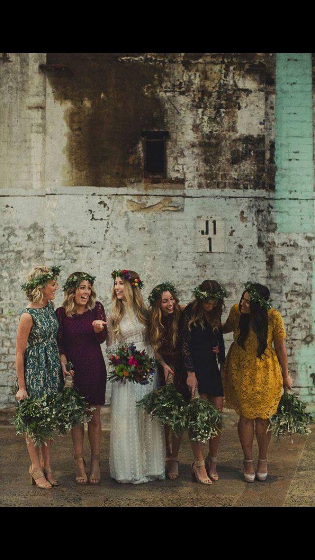 Different coloured lace bridesmaids dresses