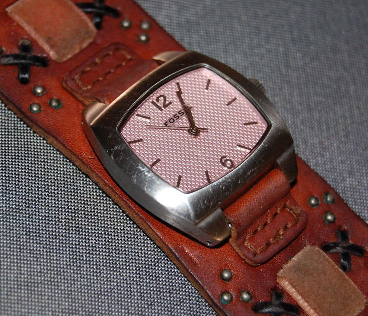 Fossil Women's Wide Brown Appliques Leather Square Pink Dial Watch NEW BATT #Fossil #Casual