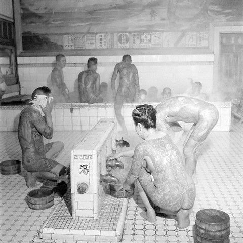 Tattooed Bathers at a Public Bath, Tokyo, Japan, 1946 by Horace Bristol