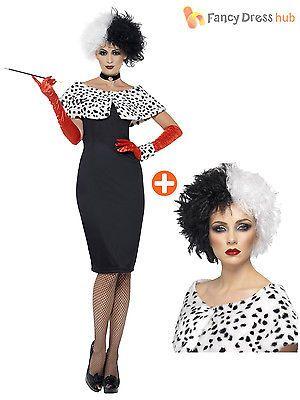 #Cruella de ville costume + wig ladies deville dalmatian #fancy #dress halloween,  View more on the LINK: http://www.zeppy.io/product/gb/2/400959471163/