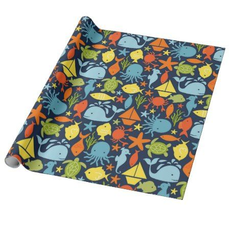 Deep Blue Sea Nautical Wrapping Paper - tap to personalize and get yours #pattern #patterns #illustrations #illustration #animal #animals #giftwrap #giftwrapping #kids #children