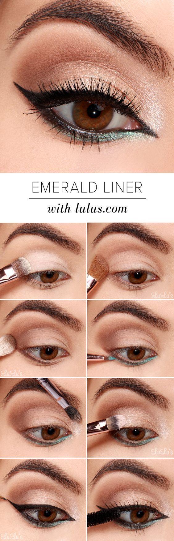 Black and Emerald Eyeliner Look – Simple Step By Step Eyeliner Tutorials For Beginners
