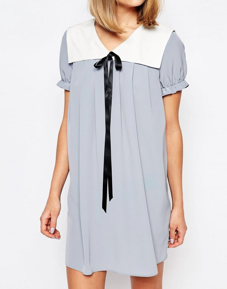 Image 3 ofReclaimed Vintage X Liquid Lunch Babydoll Dress With Collar & Tie Detail