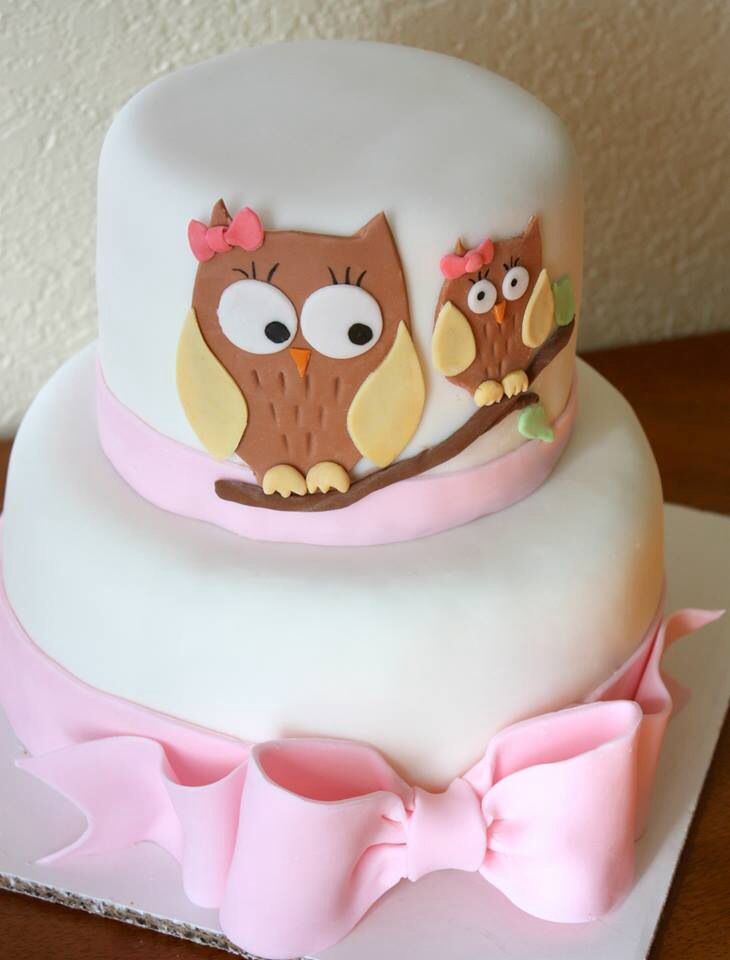Owl baby girl shower cake with pink bow