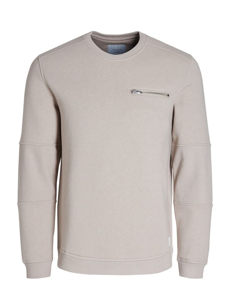 Your safe bet: a simple taupe sweater with zipper detail on the chest and sleeves details | JACK & JONES