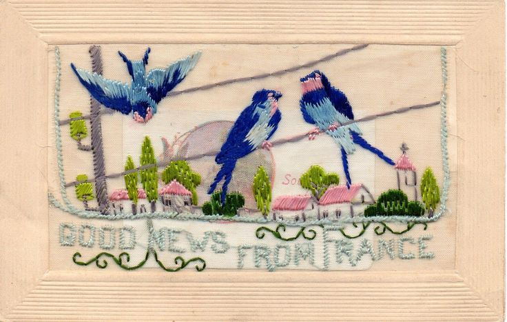 Good News From France: Ww1 Embroidered Silk Postcard • £7.50 • PicClick UK