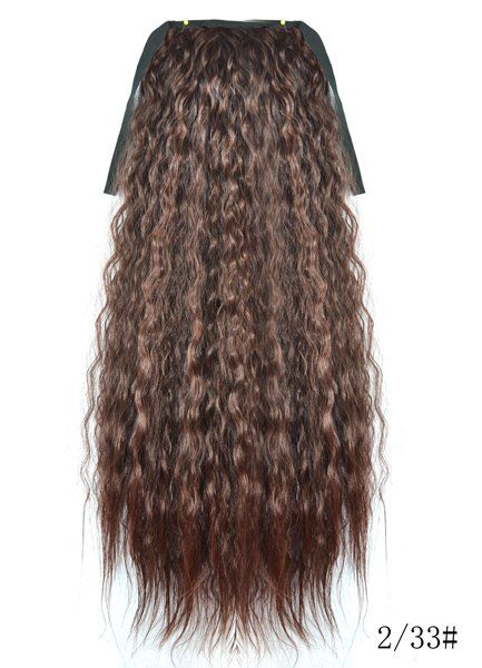 Heat Resistant Fluffy Dark Brown Long Yaki Straight Women's Drawstring Ponytail Hair Extension - DEEP BROWN