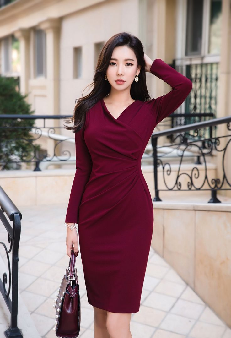 Slim Fit Shirred Wrap Style Dress