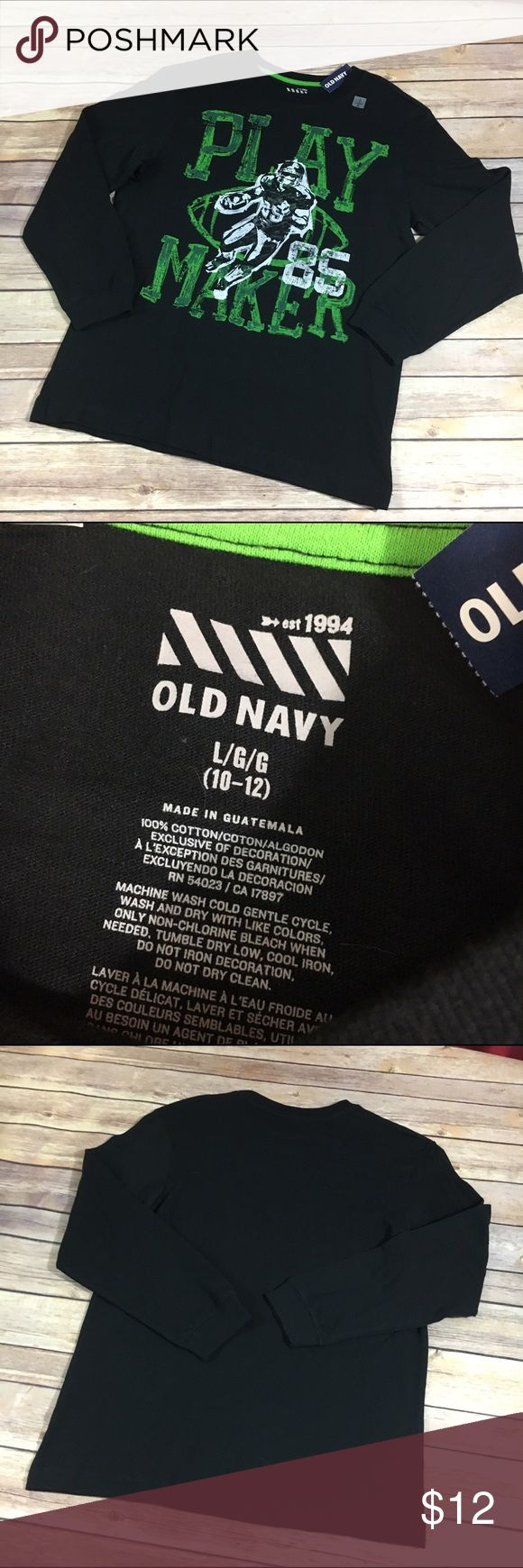 """NEW NWT Old Navy Black Jack Play Maker Football 10 NEW NWT Old Navy Black Jack Play Maker Football Tee 10/12 L  Nice new with tags long sleeve screenprinted tee from Old Navy.  Screenprint of a football player and says """"Play Maker"""".    #new #nwt #tee #playmaker #football #black #white #green #shirt #sports #afterschoolactivities Old Navy Shirts & Tops Tees - Long Sleeve"""
