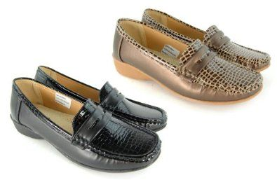 Womens E Wide Comfort Fit Round Toe Moccasin Ladies Leather Sock Patent Synthetic Low Flat Loafer Office Shoe Size 3 4 5 6 7 8,£14.99