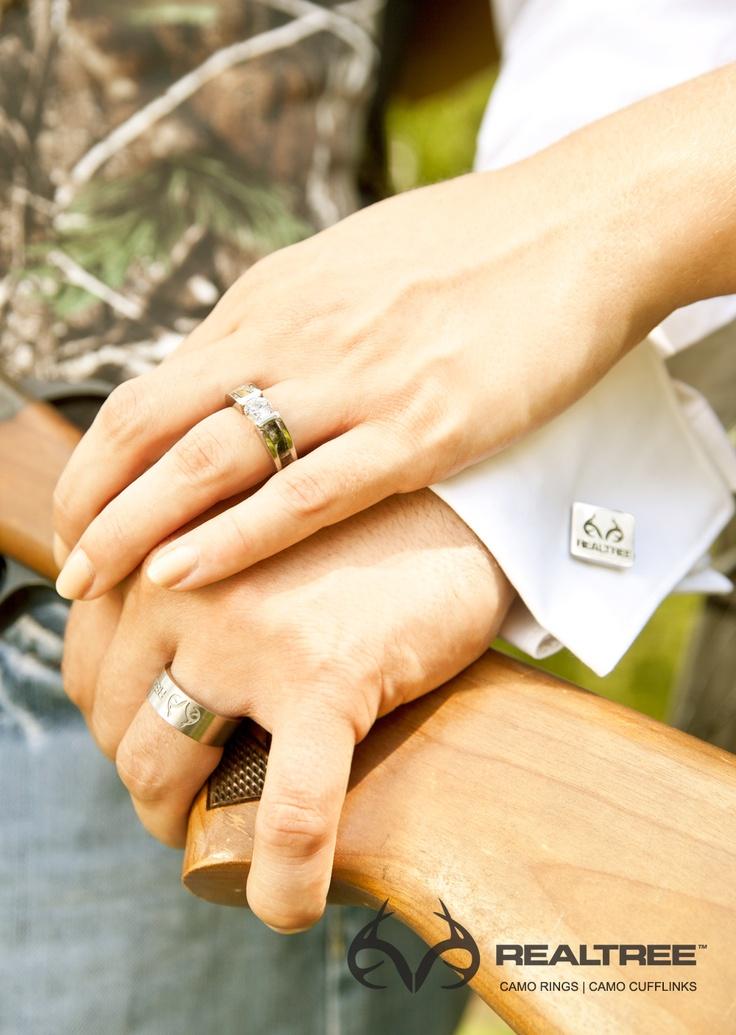 Camo Wedding Rings On Hand