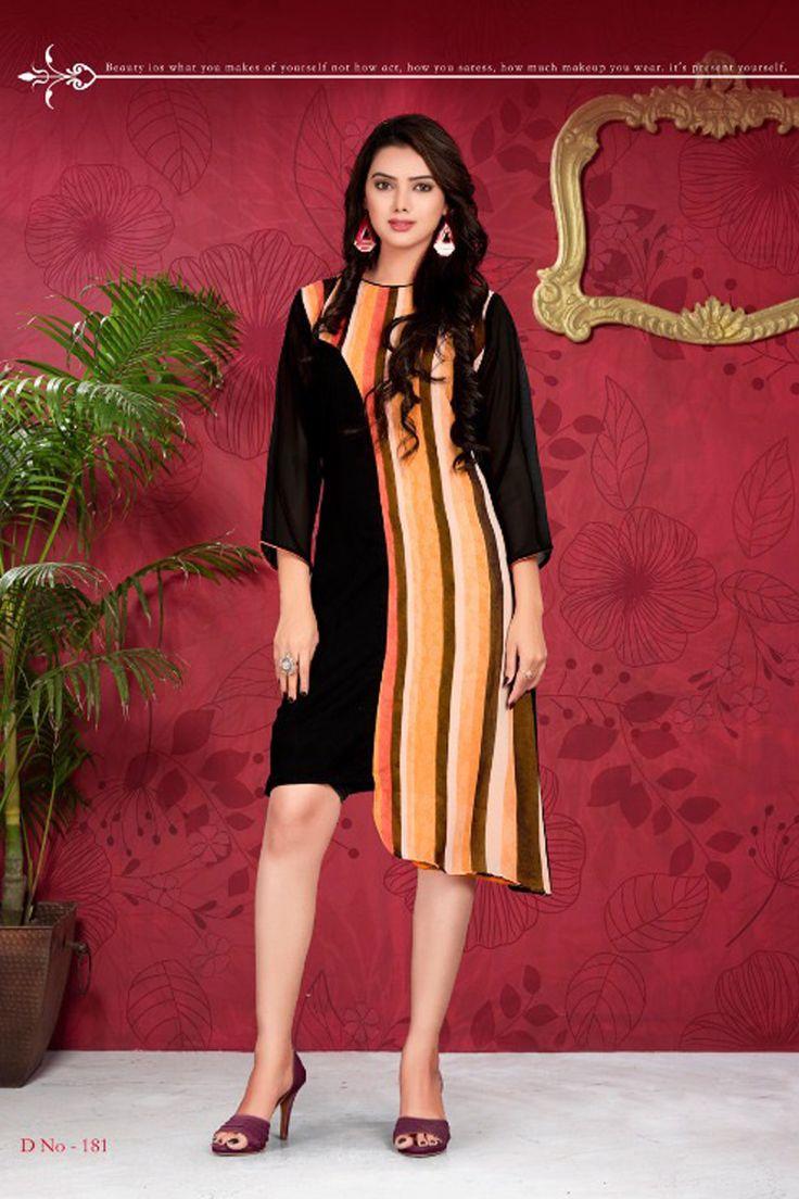 Black Stylish Tunic Style Printed Office Wear Kurti Vink Fashion Flamingo Catalog 181