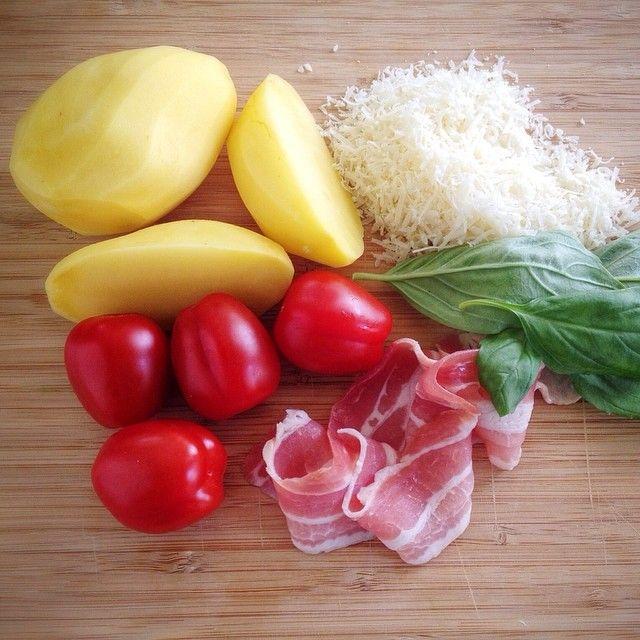 potato, tomato, basil, pancetta, parmezan
