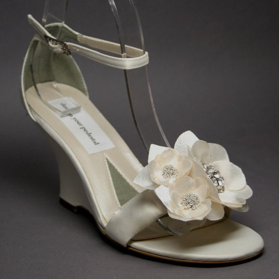 Custom Wedding Shoes -- Ivory Wedding Wedges with Matching Ivory Flower and Silver Bead Adornment