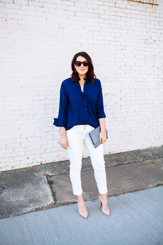 2.15 the new boyfriend (Old Navy chambray shirt + Old Navy skinny boyfriend jeans + Charles David nude pumps + printed clutch + BaubleBar earrings)